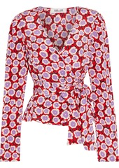 Diane Von Furstenberg Woman Alexia Floral-print Silk Crepe De Chine Wrap Top Red