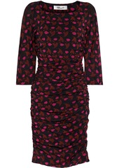Diane Von Furstenberg Woman Alfie Ruched Printed Stretch-mesh Mini Dress Black