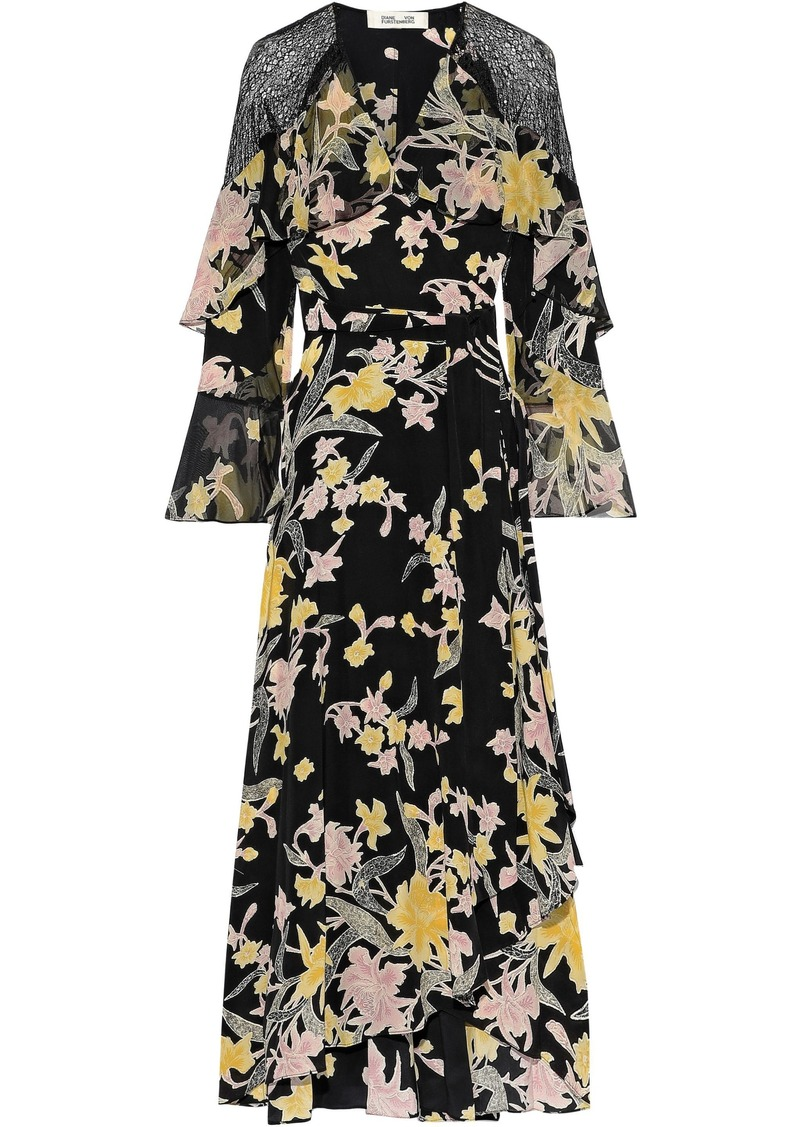 Diane Von Furstenberg Woman Alice Ruffled Printed Silk Crepe De Chine Maxi Wrap Dress Black
