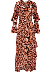 Diane Von Furstenberg Woman Alice Ruffled Printed Silk Crepe De Chine Maxi Wrap Dress Black