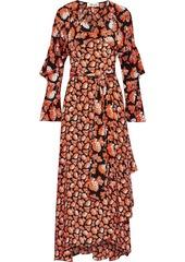 Diane Von Furstenberg Woman Alice Ruffled Printed Silk Crepe De Chine Maxi Wrap Dress Orange