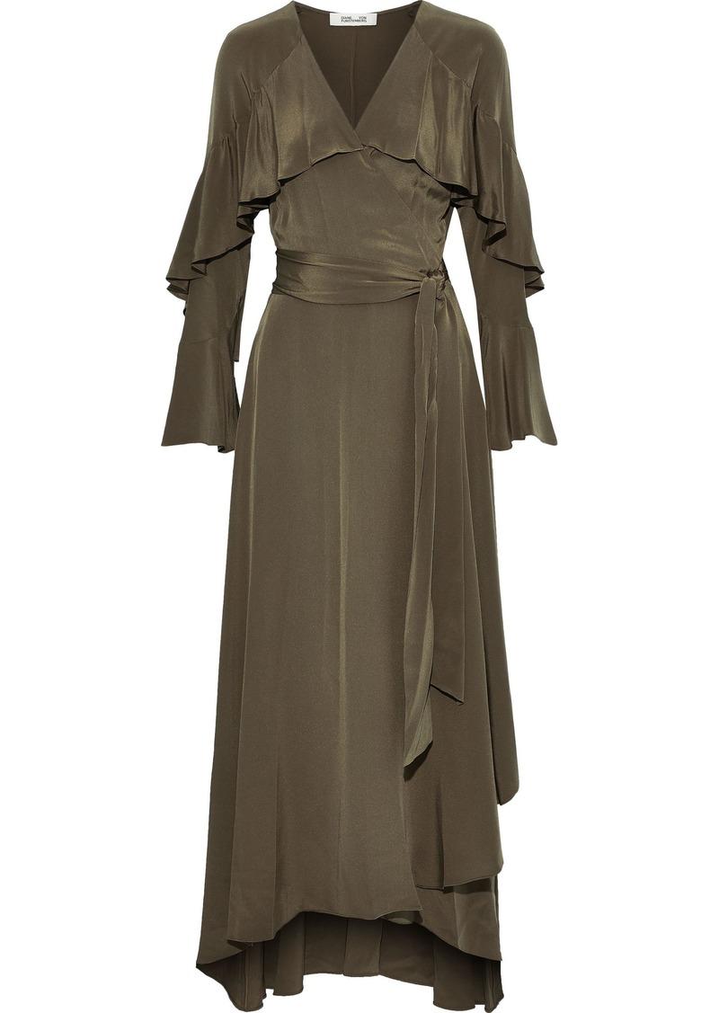 Diane Von Furstenberg Woman Alice Ruffled Silk Crepe De Chine Maxi Wrap Dress Army Green