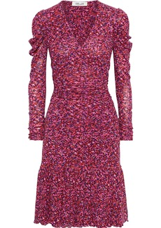 Diane Von Furstenberg Woman Alyssa Gathered Floral-print Stretch-mesh Dress Pink