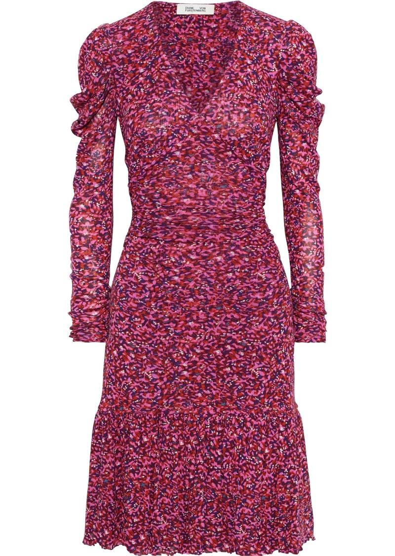Diane Von Furstenberg Woman Alyssa Gathered Floral-print Stretch-mesh Dress Pink