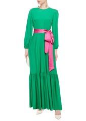 Diane Von Furstenberg Woman Amabel Belted Silk-blend Crepe De Chine Maxi Dress Green