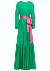 Diane Von Furstenberg Woman Amabel Belted Silk-blend Crepe De Chine Maxi Dress Green