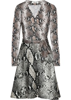 Diane Von Furstenberg Woman Amelia Snake-print Silk-jersey Mini Wrap Dress Brown