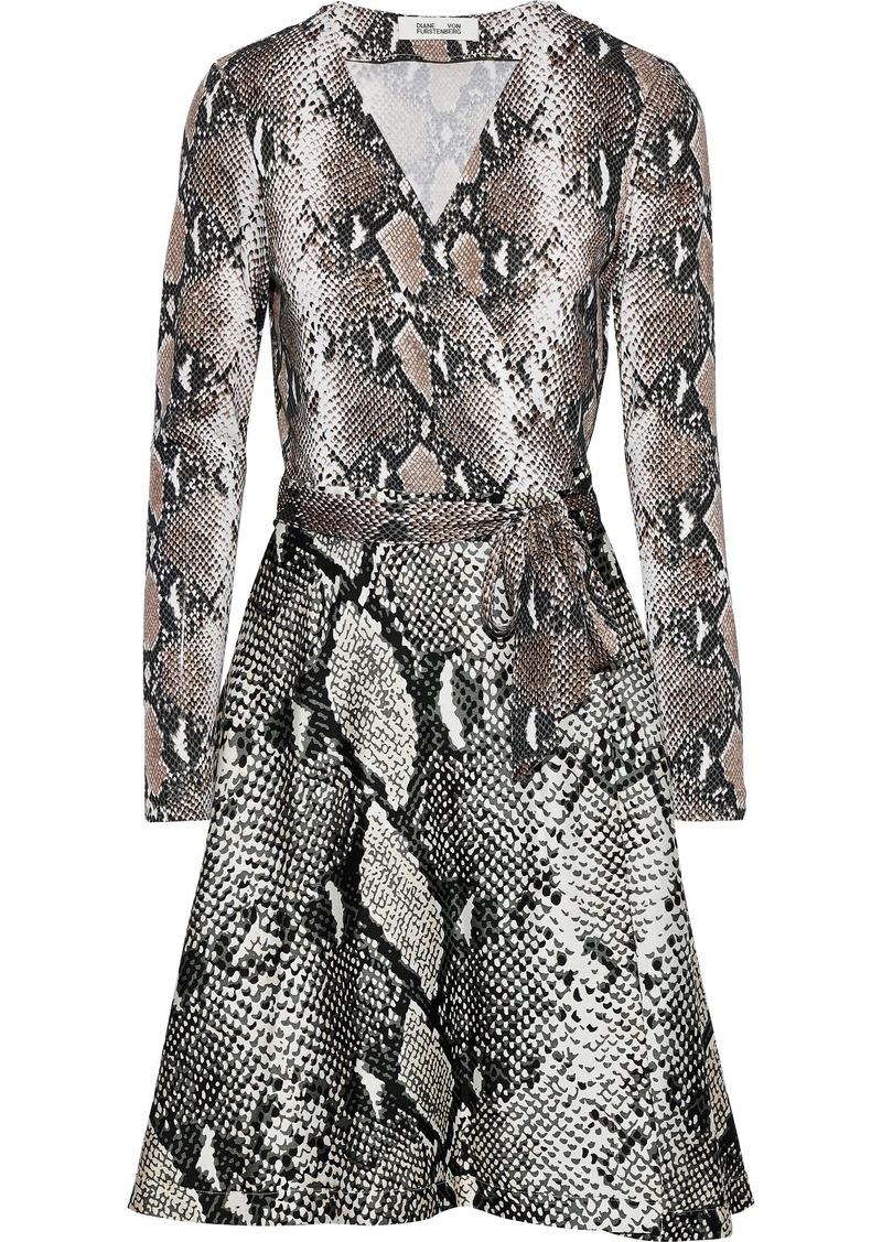 Diane Von Furstenberg Woman Amelia Snake-print Silk-jersey Mini Wrap Dress Brown