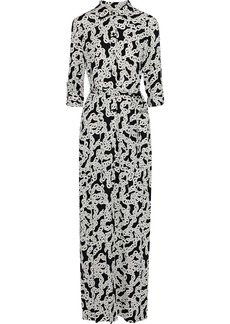 Diane Von Furstenberg Woman Amina Belted Printed Stretch-silk Maxi Dress Black