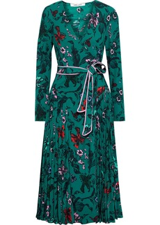 Diane Von Furstenberg Woman Amiya Pleated Floral-print Crepe De Chine Midi Wrap Dress Emerald