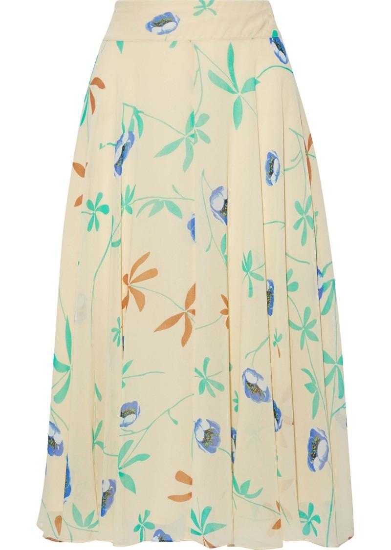 Diane Von Furstenberg Woman Amora Floral-print Chiffon Skirt Beige