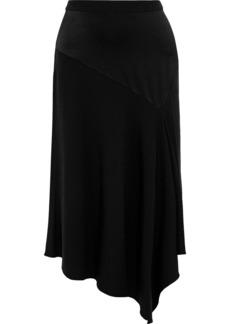 Diane Von Furstenberg Woman Analisa Asymmetric Draped Satin-crepe Skirt Black