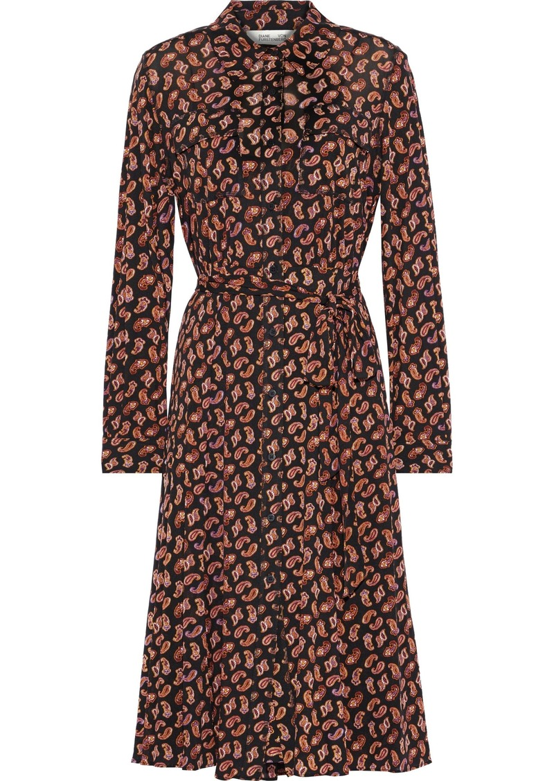Diane Von Furstenberg Woman Andi Belted Printed Stretch-mesh Shirt Dress Black