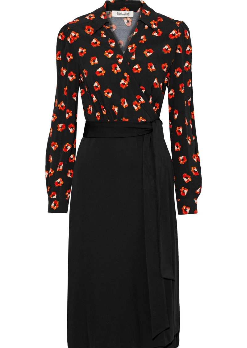 Diane Von Furstenberg Woman Angelina Floral-print Crepe And  Cady Wrap Dress Black