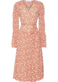 Diane Von Furstenberg Woman Ani Pleated Printed Chiffon Midi Wrap Dress Beige