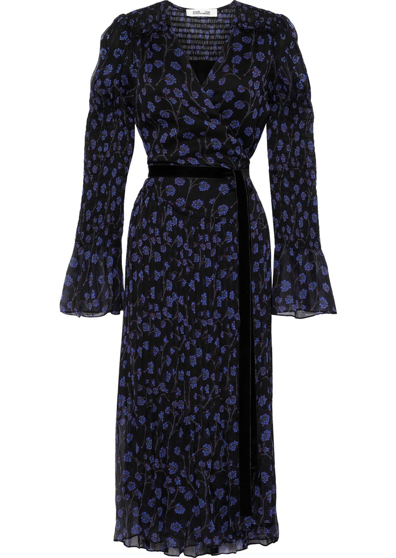 Diane Von Furstenberg Woman Ani Shirred Floral-print Silk-georgette Midi Wrap Dress Black