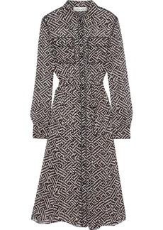 Diane Von Furstenberg Woman Antonette Belted Printed Georgette Shirt Dress Black