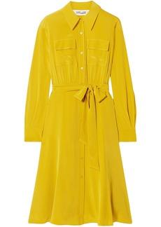 Diane Von Furstenberg Woman Antonette Belted Silk Crepe De Chine Shirt Dress Marigold