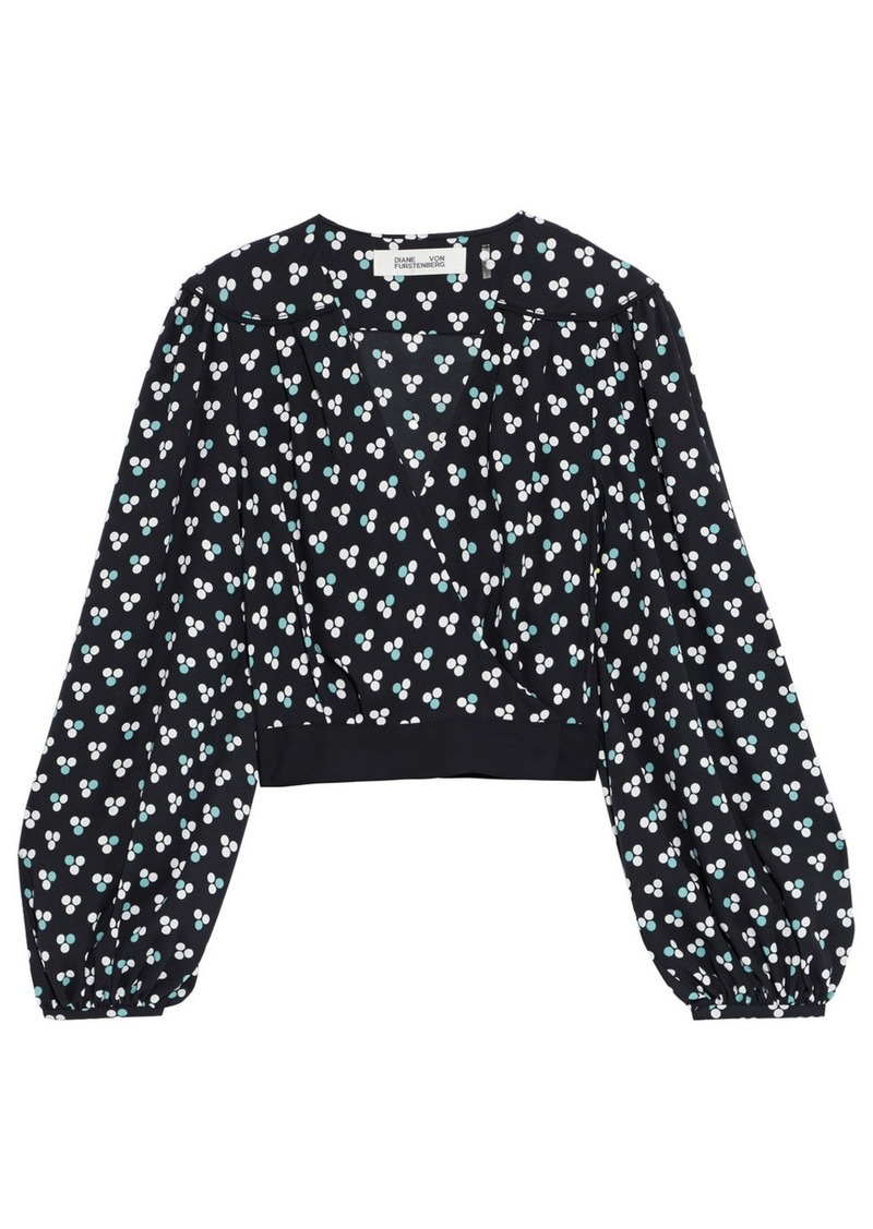 Diane Von Furstenberg Woman Arleth Polka-dot Crepe Wrap Blouse Black