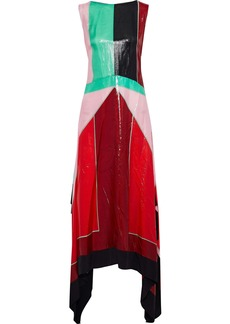 Diane Von Furstenberg Woman Asymmetric Color-block Coated Silk-blend Midi Dress Crimson