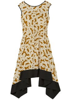 Diane Von Furstenberg Woman Asymmetric Printed Silk Crepe De Chine Dress Light Brown
