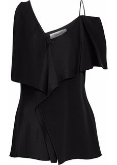 Diane Von Furstenberg Woman Asymmetric Ruffled Satin Top Black