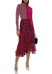 Diane Von Furstenberg Woman Audra Striped Ribbed-knit Top Fuchsia