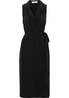 Diane Von Furstenberg Woman Augusta Silk Crepe De Chine Midi Wrap Dress Black