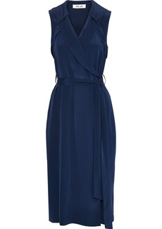 Diane Von Furstenberg Woman Augusta Silk Crepe De Chine Midi Wrap Dress Navy