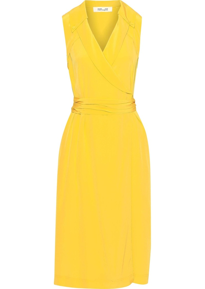 Diane Von Furstenberg Woman Augusta Silk Crepe De Chine Midi Wrap Dress Yellow