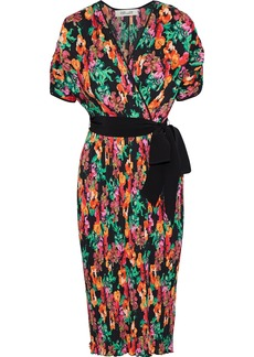 Diane Von Furstenberg Woman Autumn Wrap-effect Pleated Floral-print Crepe De Chine Midi Dress Multicolor