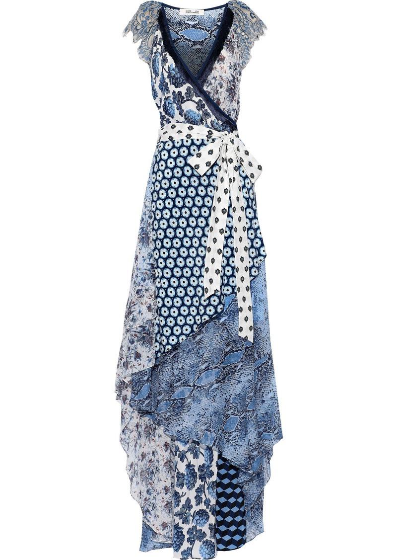 Diane Von Furstenberg Woman Ava Printed Silk-jersey Crepe De Chine And Georgette Maxi Wrap Dress Light Blue
