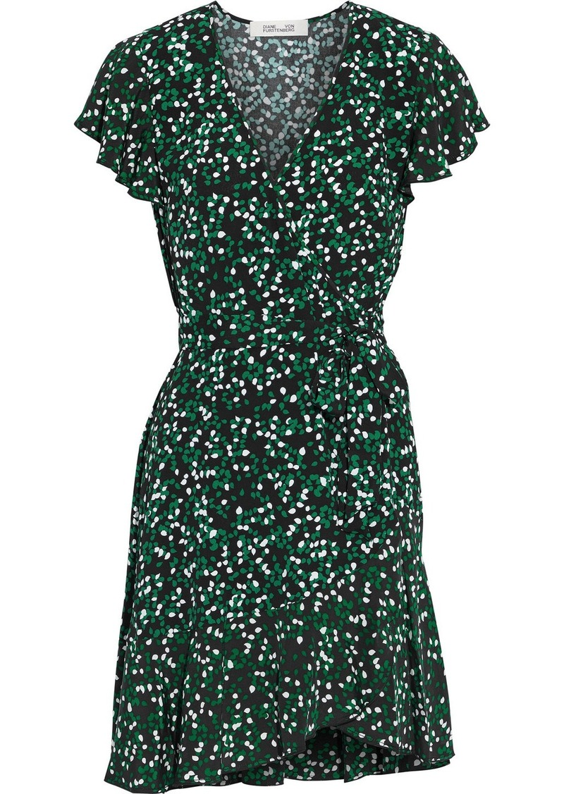 Diane Von Furstenberg Woman Avaya Ruffled Printed Crepe Mini Wrap Dress Black