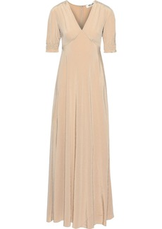 Diane Von Furstenberg Woman Avianna Crystal-embellished Silk Crepe De Chine Gown Beige