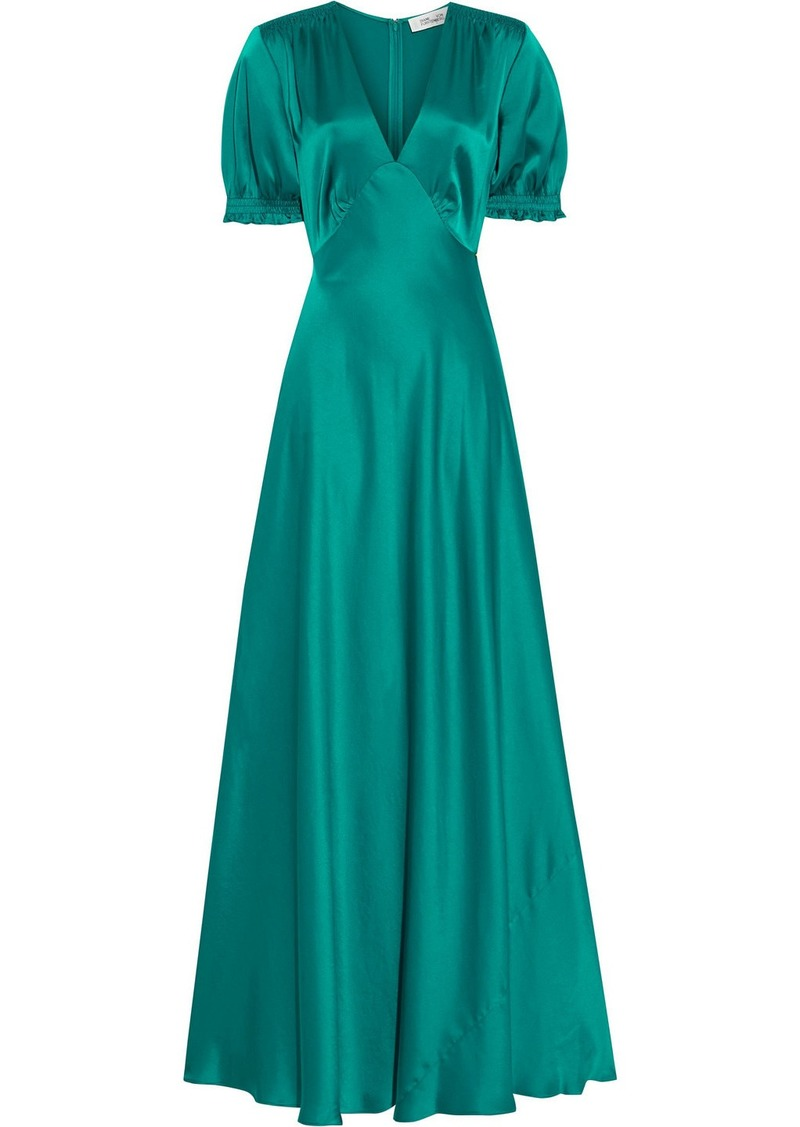 Diane Von Furstenberg Woman Avianna Gathered Satin Gown Teal