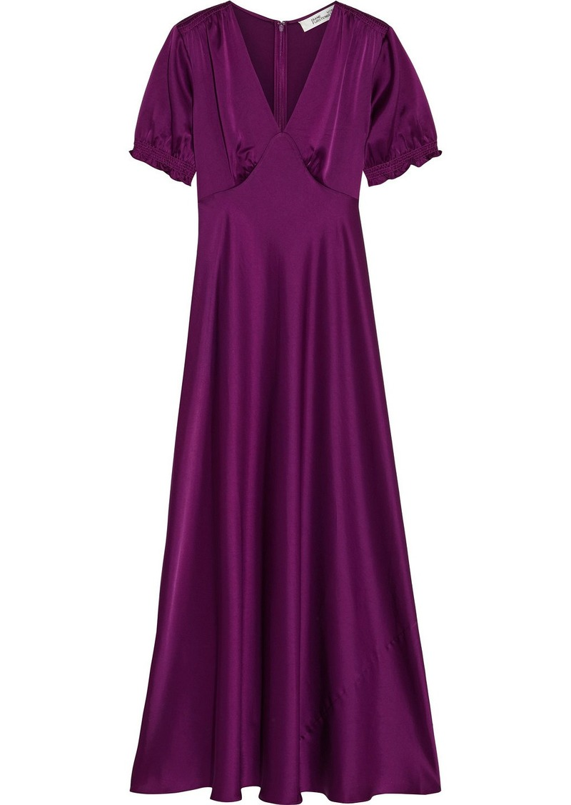 Diane Von Furstenberg Woman Avianna Gathered Satin Gown Plum
