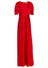 Diane Von Furstenberg Woman Avianna Shirred Satin Gown Red