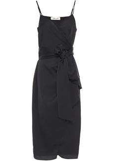Diane Von Furstenberg Woman Avila Satin-crepe Midi Wrap Dress Black