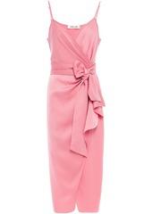 Diane Von Furstenberg Woman Avila Satin-crepe Midi Wrap Dress Bubblegum