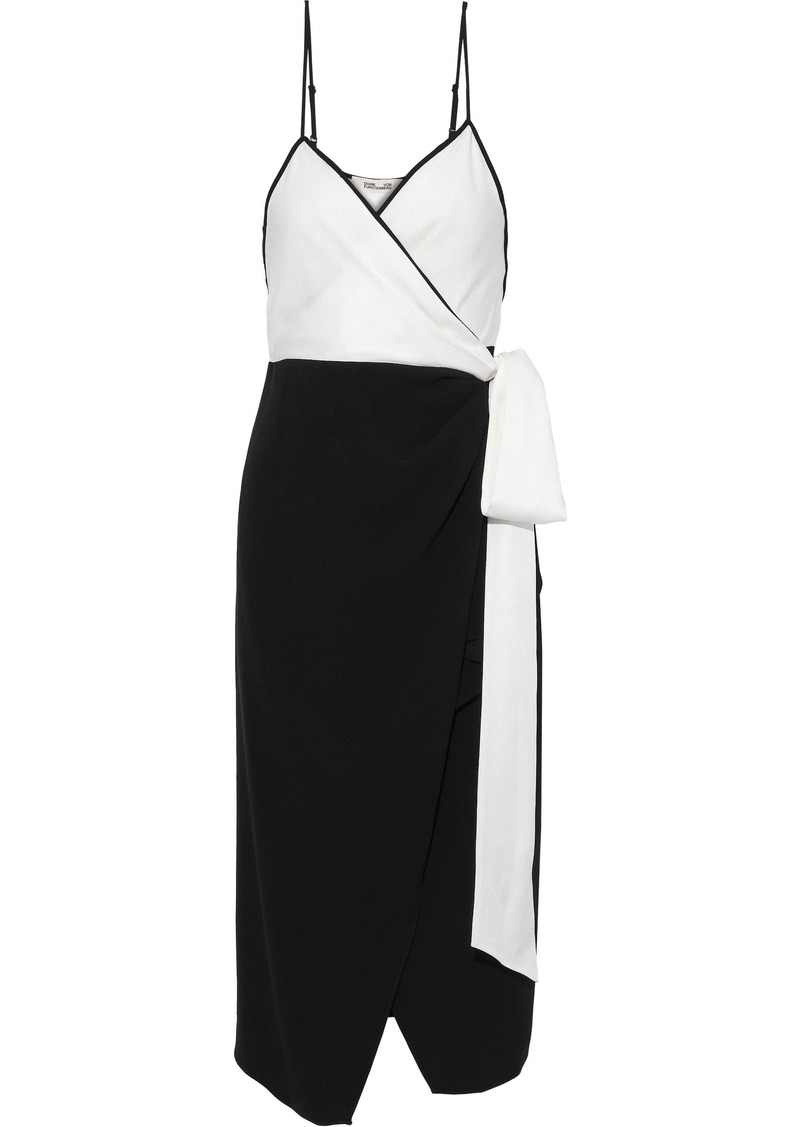 Diane Von Furstenberg Woman Avila Two-tone Crepe Midi Wrap Dress Black