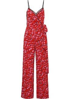 Diane Von Furstenberg Woman Barry Printed Cady Wrap Jumpsuit Red