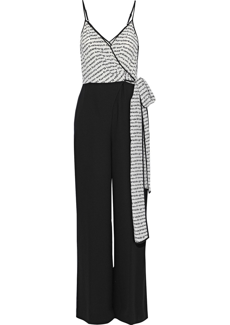 Diane Von Furstenberg Woman Barry Printed Silk And Crepe Wrap Jumpsuit Black