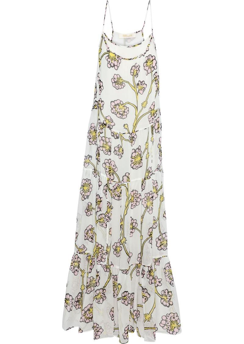 Diane Von Furstenberg Woman Baylee Tiered Floral-print Silk-voile Maxi Dress Ivory