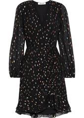 Diane Von Furstenberg Woman Bea Ruched Metallic Fil Coupé Chiffon Mini Dress Black
