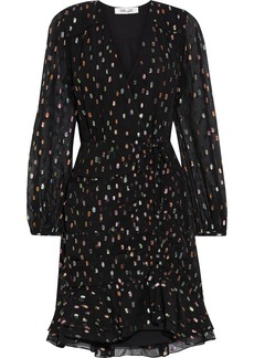 Diane Von Furstenberg Woman Bea Ruched Metallic Fil Coupé Chiffon Mini Dress Black