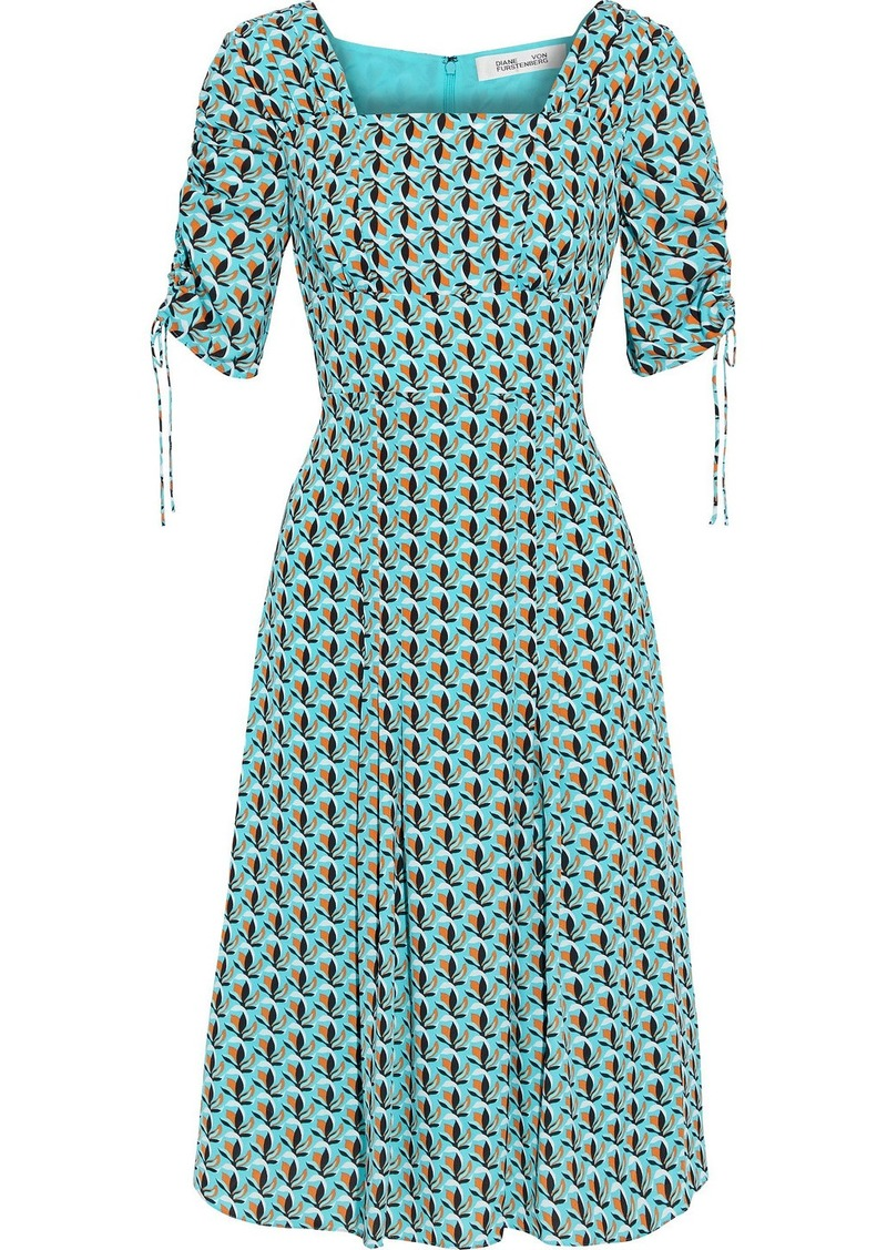 Diane Von Furstenberg Woman Beatrix Ruched Printed Crepe Dress Turquoise