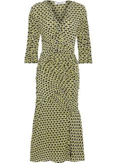 Diane Von Furstenberg Woman Becca Ruched Printed Mesh Dress Yellow