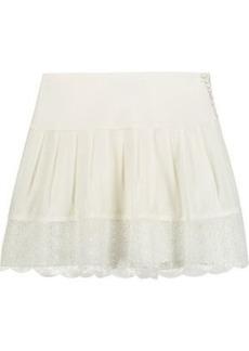 Diane Von Furstenberg Woman Belita Lace-trimmed Silk-blend Mini Skirt Ivory