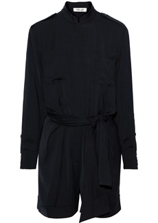Diane Von Furstenberg Woman Belted Brushed-twill Mini Dress Black