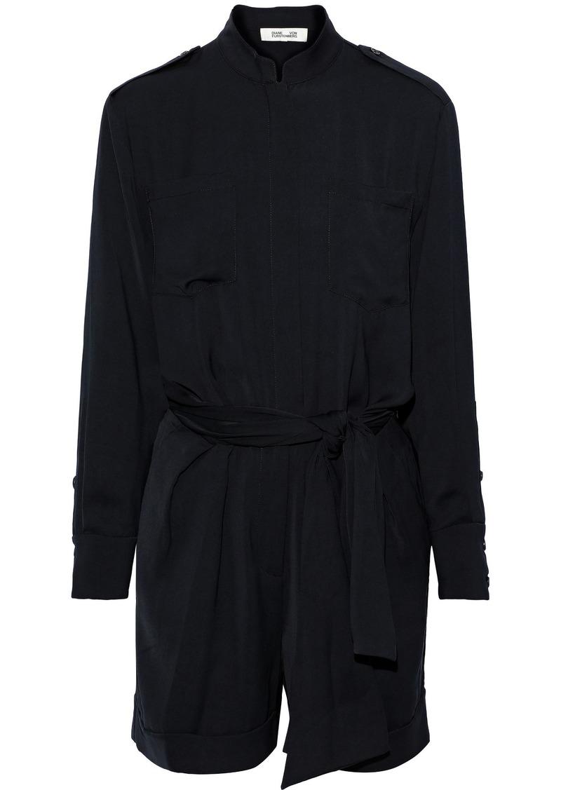 Diane Von Furstenberg Woman Belted Brushed-twill Mini Dress Black